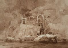 【The Dream of Amalfi 】 Vandyke Brown watercolor , 18 x 26 cm , 2+6 hours Demo by Chien Chung-Wei