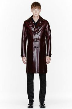 Burberry Prorsum Burgundy Sheen Pvc Trench Coat for men | SSENSE