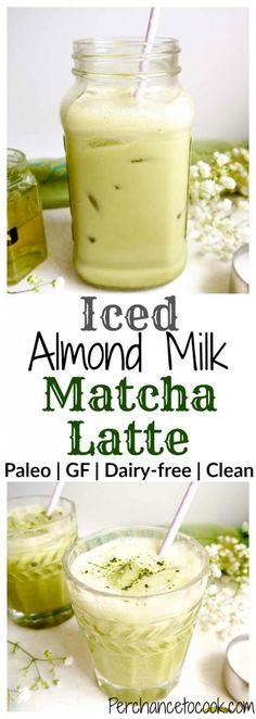 Iced Almond Milk Matcha Latte (Paleo, GF) | Perchance to Cook, www.perchancetocook.com