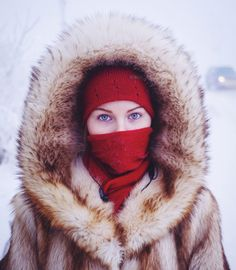 Husky-eyed studentwaiting for her bus in Yakutsk, the coldest city on earth.