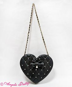 Love Quilted Heart Bag blk