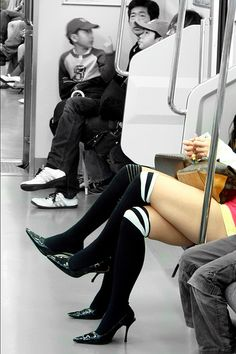When the Tokyo subway is almost empty during week-ends, some have more space to stretch their legs! Selective colours by Delphine. Japan, May Tokyo Subway, Welcome To Reality, Beauty Contest, Beach Accessories, Train Tracks, Legs Day, Japanese Culture, Sexy Legs, Street Photography