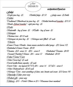 List of prices for ordering Bottle Bag, Just Desserts, Fudge
