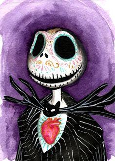 Jack Skellington Day of the Dead Art Print by MayhemHere on Etsy Sick Drawings, Jack Skellington Pumpkin, Sally Nightmare Before Christmas, Tim Burton Films, Day Of The Dead Art, Sugar Skull Art, Jack And Sally, Anatomy Art, Cartoon Movies