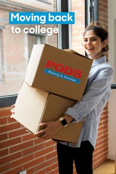 Moving back to #College? Make unpacking easier with a PODS container, so you can take as much time as you need to move in to your new space. #CollegeMovingTips #CollegeMoves College Moving Tips, Back To College, Back To School, Moving Store, Get Moving, Pods Moving And Storage, Self Storage, News Space, Storage Containers