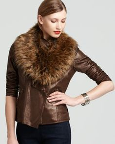 Bagatelle Artica Faux Suede Jacket with Faux Fur Collar