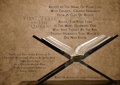 First verse God revealed to Prophet Muhammed peace be upon him.