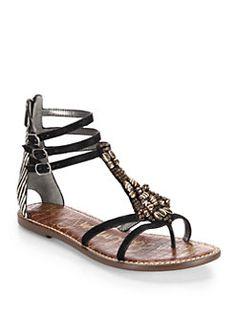 Sam Edelman - Giada Beaded Leather & Calf Hair Sandals