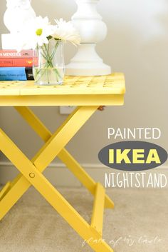 Spray paint a cheap IKEA table to make a simple table. Would be perfect for an older girl's nightstand. Ikea Folding Table, Ikea Table, Ikea Hacks, Furniture Makeover, Diy Furniture, Ikea Nightstand, Nightstands, Mellow Yellow, Bright Yellow