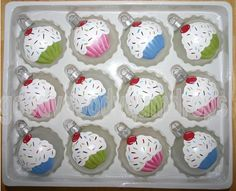 Christmas cupcake ornaments I hand painted for the holidays. I paint several dozen of these each year. Christmas Colors, Christmas Time, Christmas Bulbs, Merry Christmas, Fun Crafts, Crafts For Kids, Snowman Crafts, Christmas Projects, Christmas Ideas