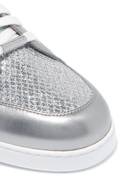 Jimmy Choo - Miami Glittered And Metallic Leather Sneakers - Silver - IT