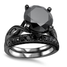 Noori 14k Black Plated 4 3/5 ct TDW Black Diamond Ring Set (Size-5), Women's