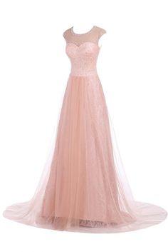 Sunvary Elegant Neu Organza Lang Steine Abendkleid Ballkleider -38-Rosa