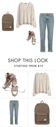 """#727"" by sydneydeleonofficial ❤ liked on Polyvore featuring Converse, H&M, rag & bone, Herschel Supply Co., school, comfy and casualoutfit"