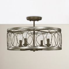Features:  -Finish: Brushed silver and bronze.  -Style: Transitional.  Product Type: -Semi flush mount.  Finish: -Brushed silver and bronze.  Number of Lights: -4.  Bulb Type: -Incandescent.  Bulb Wat