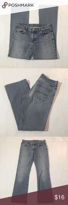 """Lucky Bootcut Jeans Lucky Bootcut Jeans. Size 6/28. Minor wear at hem, hole at knee. 39 1/2"""" length, 28 1/2"""" inseam. Lucky Brand Jeans Boot Cut"""