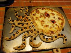 "Octo-""pie"" = octopus-shaped pizza with cheese-stuffed tentacles!"