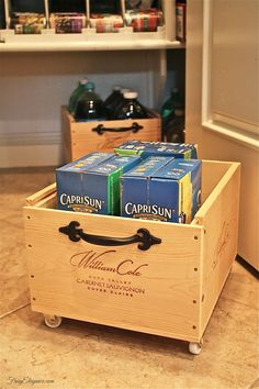 Got an extra wine crate sitting around? Check this out! We added wheels & handles to a couple wine crates & wah'la we have Frug-Elegant Organizers! Up Cycling & Recycling Wine Crates with wheels is so easy to do! Crate Storage, Pantry Storage, Pantry Organization, Organizing Ideas, Storage Boxes, Kitchen Storage, Organized Pantry, Storage Ideas, Pantry Ideas