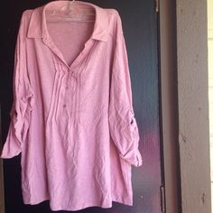 Woman shirt Half button up pink shirt. Sleeves can be rolled and buttoned half way or long sleeve Tops Button Down Shirts