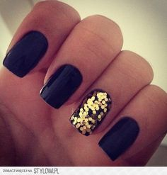 Nails black with gold glitter nail