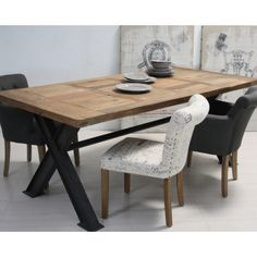Tavolo legno naturale base ferro - Etnico Outlet mobili etnici