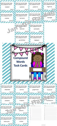 Are you looking for a compound work center, game, practice, or assessment? This product is all of those! This is a set of 24 task cards containing compound words. Each card asks the student to read the compound word, decide which two words the compound word is made from, and record the two words on the answer sheet. Easy Grading. Low prep! The answer sheet included.