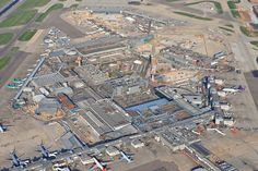 An aerial photograph of Terminals 1,2 and 3 at London's Heathrow Airport