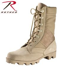 """Rothco's+GI+Style+Speedlace+Jungle+Boots+In+Desert+Tan+Feature+A+Heavyweight+Nylon/Suede+Leather+Upper,+Padded+Collar,+Removable+Cushion+Insole+And+A+Non-Slip+Rubber+""""Panama""""+Sole."""