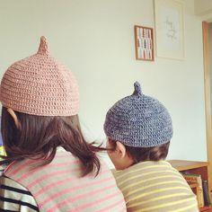 てっぺんのとんがりがどんぐりみたいでとってもかわいい編み帽子♡編み物でかわい手作り帽子♡