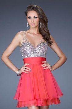 2013 Homecoming Dresses Short Mini Beading Sequins V Neck Chiffon