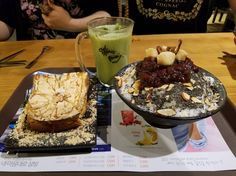 #manikinhead #food [OC] Best desert I've had all week! Red bean and black sesame patbingsu and mochi toast.