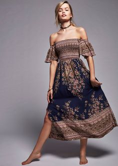 Free People - Louise Border Print Midi Dress