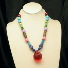 Mid Century Chunky Glass Acrylic Beads Lucite Vintage Necklace Pendant Multi Colors Striking