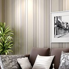Classic Non-woven Striped Wallpaper Living Room Wall Paper Roll Home Decoration Light Yellow Green Black papel de parede mural w