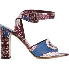 Valentino Garavani Floral Print Sandals ($1,345) ❤ liked on Polyvore featuring shoes, sandals, red, valentino shoes, open toe sandals, valentino sandals, red shoes and floral sandals