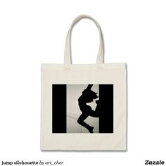 jump silohouette tote bag