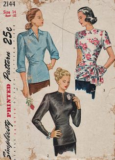 Simplicity 2144 / Vintage 40s Sewing Pattern / Blouse Shirt