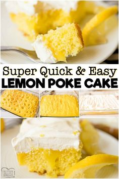 LEMON POKE CAKE RECIPE – Butter with a Side of Bread Lemon Poke Cake made with 3 ingredients and so simple! Delicious, easy poke cake recipe with a sweet lemon flavor topped with whipped cream. Lemon Dessert Recipes, Poke Cake Recipes, Poke Cakes, Fruit Recipes, Easy Desserts, Gourmet Recipes, Poke Recipe, Trifle Desserts, Snacks Recipes