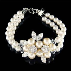 pearl hair Ready to Ship. Bridal Wedding 2 Strand Row Cream White Pearl Swarovski Crystal Flower Brooch Sterlin Ready to Ship. Pearl Jewelry, Bridal Jewelry, Jewelery, Stylish Jewelry, Fashion Jewelry, Wedding Gifts For Bride, Crystal Flower, Matching Necklaces, Flower Brooch