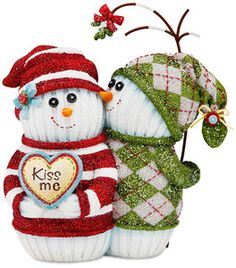 """Love by The Sockings - 4.5"""" Snowmen with Mistletoe"""
