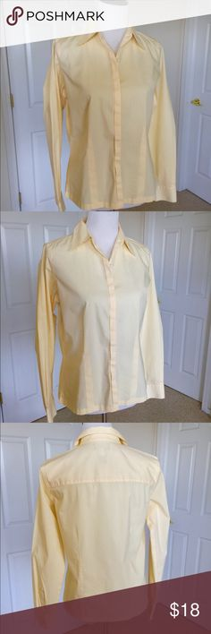 """🆕 Listing Yellow. Blouse EUC Pretty buttery yellow blouse with covered button placket. Fitted but not tight. The 65% cotton, 30% nylon, 5% spandex fabric has stretch. Excellent condition. No problems. Measurements taken lying flat: 20"""" underarm to underarm; 18"""" across waist; 19.5"""" across bottom; 24"""" shoulder to hem. Liz Claiborne Tops Blouses"""