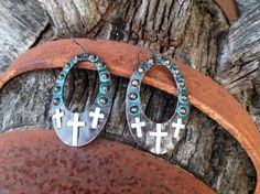 Gypsy Boho Chic Patina Cross Decorated Western Style Drop Earring