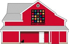 Cat's Meow Magic Quilt Barn | The quilt pattern on this barn was inspired by a quilt owned by Brent in our Sales & Marketing Dept. here at The Cat's Meow Village. His grandmother made 10 quilts over the course of many years and just last year (2014) handed them all out to her grandchildren.