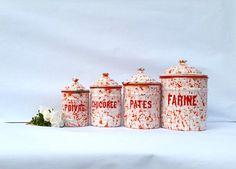 Set of 4 old enamel canisters / French enamelware by BrocBalk