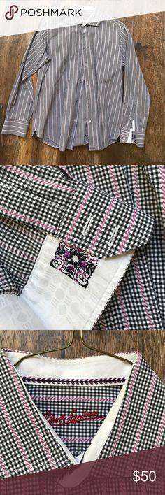 Robert Graham men's dress shirt 100% cotton Board room to happy hour this shirt will close the deal. Black and purple checks. Robert Graham Shirts Dress Shirts
