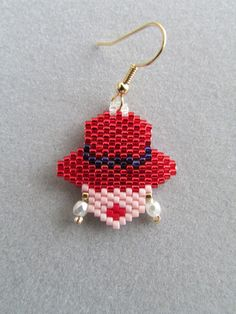Seed Bead Earrings, Beaded Earrings, Crochet Earrings, Beaded Jewelry Patterns, Beading Patterns, Perler Bead Designs, Knitted Necklace, Red Hat Society, Bead Jewellery