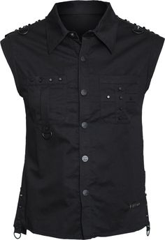 Sleeveless shirt with black buttons and studs