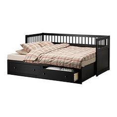 HEMNES Daybed frame with 2 drawers - IKEA, day bed with storage that folds out a bit!