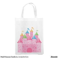 Pink Princess Castle Reusable Grocery Bag - July 4 - 4x