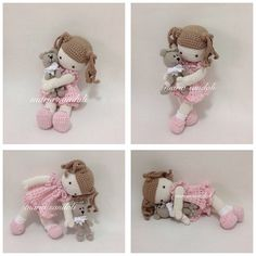 Crochet Dolls, Teddy Bear, Toys, Cute, Instagram, Dolls Dolls, Tricot, Little Girls, Ideas